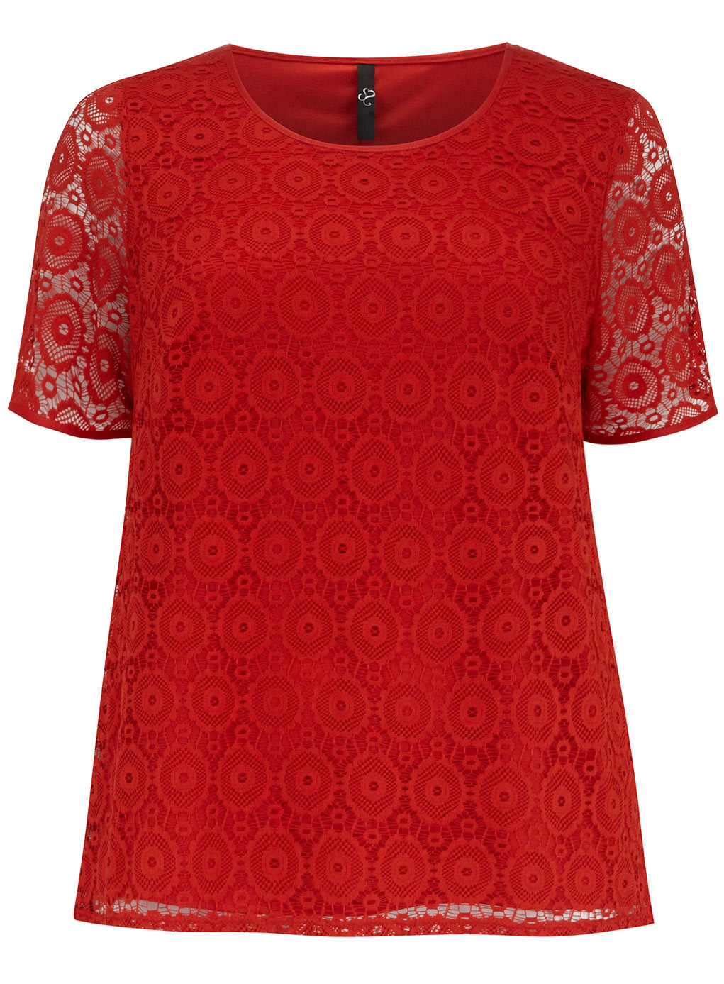 Orange Lace Shell Top - neckline: round neck; length: below the bottom; predominant colour: true red; occasions: casual, creative work; style: top; fibres: polyester/polyamide - 100%; fit: loose; sleeve length: short sleeve; sleeve style: standard; texture group: lace; pattern type: fabric; pattern: patterned/print; trends: lace; season: s/s 2014