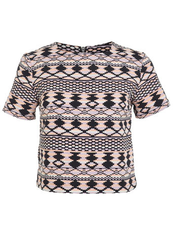 Aztec T Shirt - neckline: high square neck; length: cropped; style: t-shirt; secondary colour: bright orange; predominant colour: black; occasions: casual, holiday; fibres: cotton - mix; fit: body skimming; sleeve length: short sleeve; sleeve style: standard; pattern type: fabric; pattern: patterned/print; texture group: jersey - stretchy/drapey; trends: world traveller; season: s/s 2014; pattern size: big & busy (top)