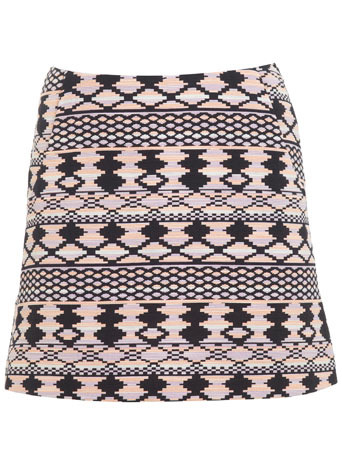 Aztec Mini Skirt - length: mini; fit: body skimming; waist: mid/regular rise; secondary colour: bright orange; predominant colour: black; occasions: casual, creative work; style: mini skirt; fibres: cotton - mix; pattern type: fabric; pattern: patterned/print; texture group: jersey - stretchy/drapey; trends: world traveller; season: s/s 2014; pattern size: big & busy (bottom)