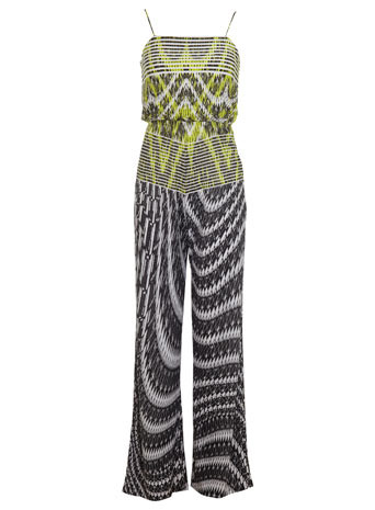 Mixed Print Jumpsuit - length: standard; sleeve style: spaghetti straps; fit: fitted at waist; back detail: low cut/open back; predominant colour: lime; secondary colour: black; occasions: casual, holiday; fibres: polyester/polyamide - mix; sleeve length: sleeveless; style: jumpsuit; neckline: low square neck; pattern type: fabric; pattern size: big & busy; pattern: patterned/print; texture group: jersey - stretchy/drapey; season: s/s 2014