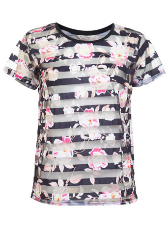 Floral Organza Tee - neckline: round neck; style: t-shirt; secondary colour: hot pink; predominant colour: navy; occasions: casual, evening, creative work; length: standard; fibres: polyester/polyamide - 100%; fit: body skimming; sleeve length: short sleeve; sleeve style: standard; texture group: sheer fabrics/chiffon/organza etc.; pattern type: fabric; pattern: florals; trends: furious florals; season: s/s 2014; pattern size: big & busy (top)