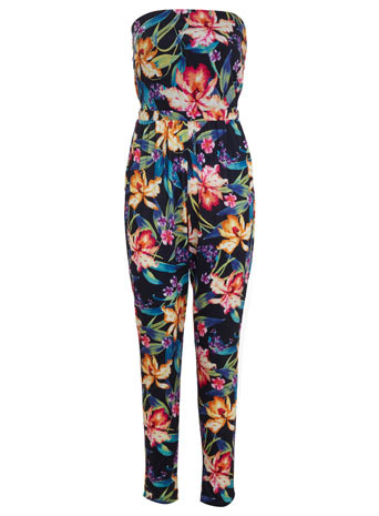 Tropical Straight Leg Jumpsuit - length: standard; neckline: strapless (straight/sweetheart); sleeve style: strapless; back detail: low cut/open back; occasions: casual, holiday; fit: body skimming; fibres: polyester/polyamide - stretch; predominant colour: multicoloured; sleeve length: sleeveless; style: jumpsuit; pattern type: fabric; pattern size: big & busy; pattern: florals; texture group: jersey - stretchy/drapey; trends: furious florals; season: s/s 2014; multicoloured: multicoloured