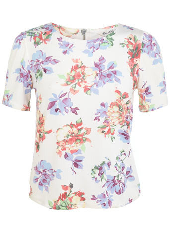 Cream Floral Tee - style: t-shirt; occasions: casual, evening, creative work; length: standard; fibres: polyester/polyamide - stretch; fit: body skimming; neckline: crew; predominant colour: multicoloured; sleeve length: short sleeve; sleeve style: standard; texture group: crepes; pattern type: fabric; pattern: florals; trends: furious florals; season: s/s 2014; pattern size: big & busy (top); multicoloured: multicoloured