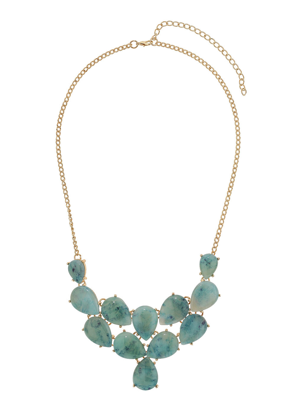 Green Tear Drop Collar Necklace - predominant colour: emerald green; secondary colour: gold; occasions: casual, evening, occasion; length: mid; size: standard; material: chain/metal; finish: metallic; embellishment: jewels/stone; style: bib/statement; season: s/s 2014