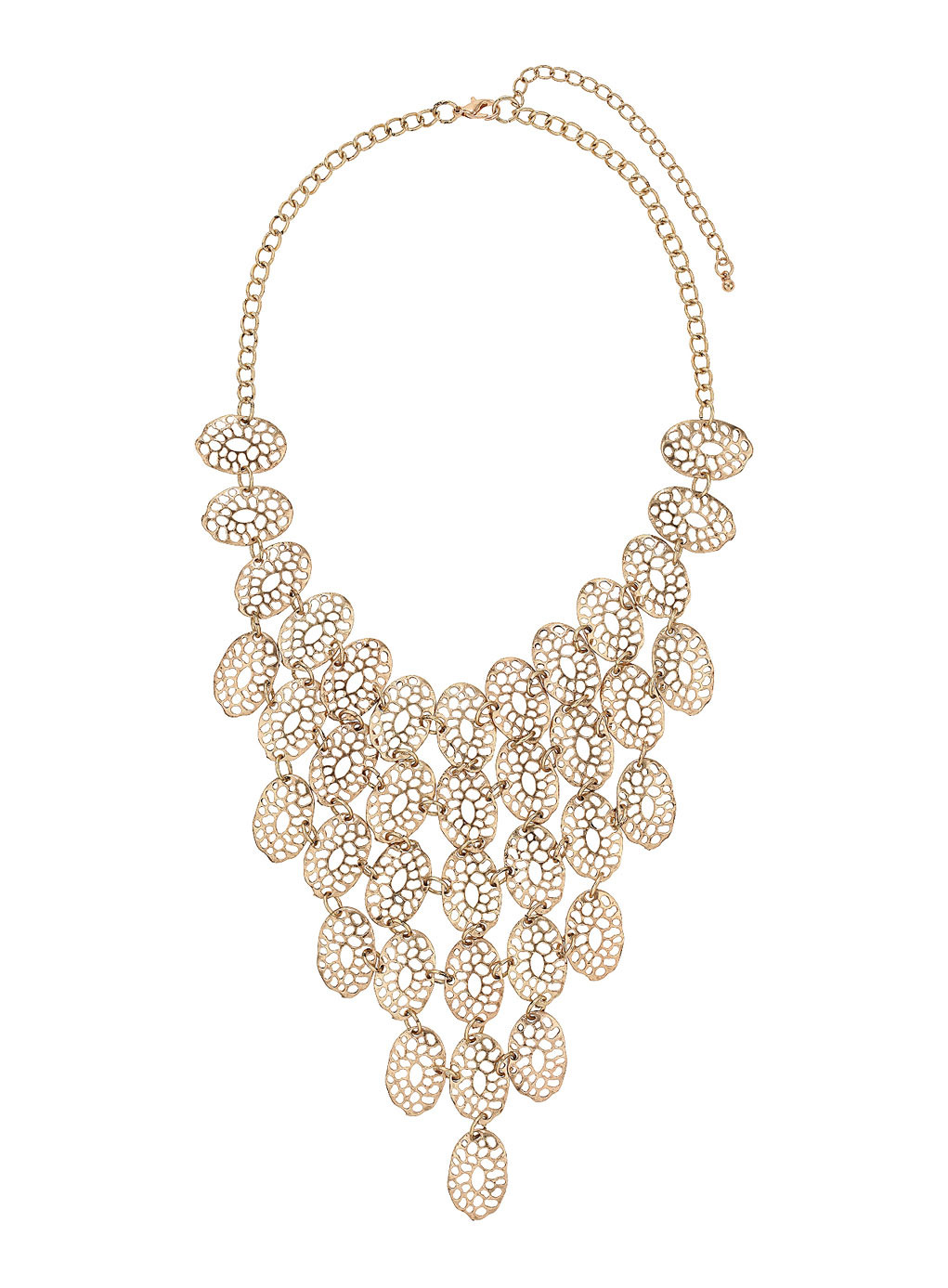 Gold Filigree Drop Statement Necklace - predominant colour: gold; occasions: evening, occasion; length: mid; size: large/oversized; material: chain/metal; finish: metallic; style: bib/statement; season: s/s 2014