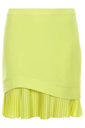 Lemon Curve Pleat Skirt - pattern: plain; fit: body skimming; style: pleated; waist: high rise; predominant colour: lime; occasions: evening, work, creative work; length: just above the knee; fibres: polyester/polyamide - 100%; pattern type: fabric; texture group: other - light to midweight; trends: hot brights; season: s/s 2014