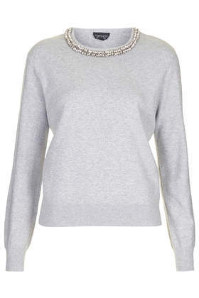 Neat Necklace Jumper - pattern: plain; style: standard; predominant colour: light grey; occasions: casual, work, creative work; length: standard; fibres: cotton - 100%; fit: standard fit; neckline: crew; sleeve length: long sleeve; sleeve style: standard; texture group: knits/crochet; pattern type: knitted - fine stitch; embellishment: beading; season: s/s 2014; wardrobe: highlight; embellishment location: neck