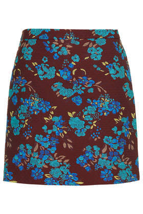 Tapestry Skirt - length: mid thigh; fit: loose/voluminous; waist: high rise; secondary colour: turquoise; predominant colour: chocolate brown; occasions: casual, evening, creative work; style: mini skirt; fibres: cotton - 100%; texture group: cotton feel fabrics; pattern type: fabric; pattern: florals; season: s/s 2014; pattern size: big & busy (bottom)