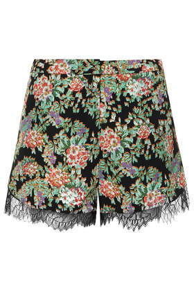 Lace Floral Runner Shorts - waist: high rise; secondary colour: pistachio; predominant colour: black; occasions: casual, evening, creative work; fibres: polyester/polyamide - 100%; texture group: crepes; pattern type: fabric; pattern: florals; embellishment: lace; season: s/s 2014; pattern size: big & busy (bottom); style: shorts; length: short shorts; fit: a-line