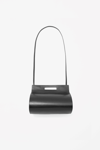 Rounded Leather Bag - predominant colour: black; occasions: casual, creative work; type of pattern: standard; style: shoulder; length: shoulder (tucks under arm); size: small; material: leather; pattern: plain; finish: plain; season: s/s 2014