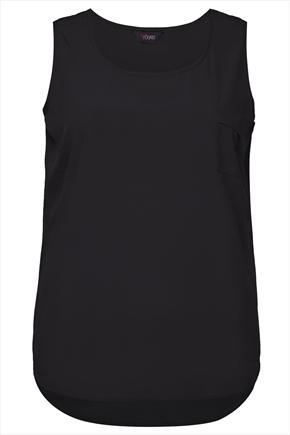 Black Sleeveless Top With Curved Dipped Hem - neckline: round neck; pattern: plain; sleeve style: sleeveless; style: vest top; predominant colour: black; occasions: casual, evening, holiday, creative work; length: standard; fibres: polyester/polyamide - 100%; fit: straight cut; sleeve length: sleeveless; texture group: crepes; pattern type: fabric; season: s/s 2014