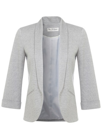 Grey Ponte Jacket - pattern: plain; style: single breasted blazer; collar: shawl/waterfall; predominant colour: light grey; occasions: casual, creative work; length: standard; fit: tailored/fitted; fibres: polyester/polyamide - stretch; sleeve length: 3/4 length; sleeve style: standard; collar break: low/open; pattern type: fabric; texture group: woven light midweight; season: s/s 2014
