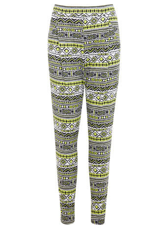 Lime Aztec Jogger - length: standard; waist detail: elasticated waist; style: peg leg; waist: mid/regular rise; secondary colour: lime; predominant colour: black; occasions: casual; fibres: viscose/rayon - stretch; fit: tapered; pattern type: fabric; pattern: patterned/print; texture group: jersey - stretchy/drapey; season: s/s 2014; pattern size: standard (bottom)