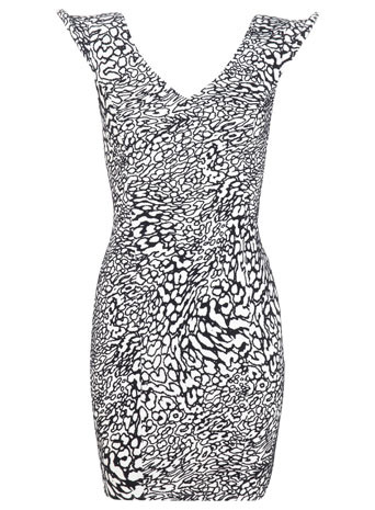 Petites Flocked Animal Bodycon - length: mid thigh; neckline: low v-neck; sleeve style: capped; fit: tight; style: bodycon; back detail: back revealing; secondary colour: white; predominant colour: black; occasions: evening; fibres: polyester/polyamide - stretch; sleeve length: sleeveless; texture group: jersey - clingy; pattern type: fabric; pattern size: standard; pattern: animal print; season: s/s 2014; trends: monochrome