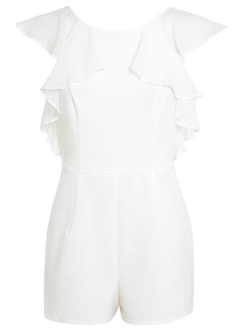 Petites Ivory Frill Playsuit - neckline: round neck; sleeve style: capped; fit: tailored/fitted; pattern: plain; length: short shorts; predominant colour: ivory/cream; occasions: casual, evening, holiday; fibres: polyester/polyamide - mix; back detail: embellishment at back; sleeve length: sleeveless; texture group: sheer fabrics/chiffon/organza etc.; style: playsuit; bust detail: tiers/frills/bulky drapes/pleats; pattern type: fabric; season: s/s 2014