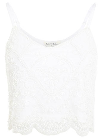 White Embellished Cami Top - neckline: low v-neck; sleeve style: spaghetti straps; pattern: plain; length: cropped; style: vest top; predominant colour: white; occasions: casual, evening, holiday; fibres: polyester/polyamide - 100%; fit: body skimming; sleeve length: sleeveless; pattern type: fabric; texture group: other - light to midweight; embellishment: beading; season: s/s 2014