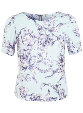 Blue Baroque Floral Print Tee - neckline: round neck; style: t-shirt; secondary colour: lilac; predominant colour: pale blue; occasions: casual; length: standard; fibres: polyester/polyamide - stretch; fit: body skimming; sleeve length: short sleeve; sleeve style: standard; pattern: florals; texture group: other - light to midweight; season: s/s 2014; pattern size: big & busy (top)