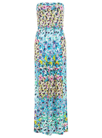 Multi Colour Floral Maxi Dress - neckline: strapless (straight/sweetheart); style: maxi dress; sleeve style: strapless; back detail: back revealing; occasions: casual; length: floor length; fit: fitted at waist & bust; fibres: viscose/rayon - 100%; predominant colour: multicoloured; sleeve length: sleeveless; pattern type: fabric; pattern size: big & busy; pattern: florals; texture group: jersey - stretchy/drapey; trends: furious florals; season: s/s 2014; multicoloured: multicoloured