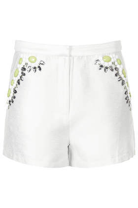 Premium Tropical Shorts - pattern: plain; waist: high rise; predominant colour: white; secondary colour: lime; occasions: casual, evening; pattern type: fabric; texture group: other - light to midweight; embellishment: jewels/stone; fibres: viscose/rayon - mix; season: s/s 2014; style: shorts; length: short shorts; fit: slim leg; wardrobe: highlight; embellishment location: hip
