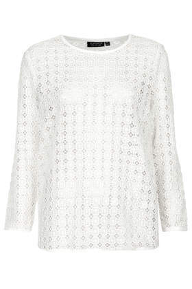 Crochet Sweat - pattern: plain; style: sweat top; predominant colour: white; occasions: casual; length: standard; fibres: cotton - 100%; fit: loose; neckline: crew; sleeve length: long sleeve; sleeve style: standard; texture group: knits/crochet; season: s/s 2014