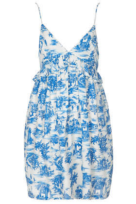 Toile Print Babydoll Dress - length: mid thigh; sleeve style: spaghetti straps; fit: empire; style: sundress; neckline: sweetheart; secondary colour: white; predominant colour: diva blue; occasions: casual, holiday; fibres: viscose/rayon - 100%; sleeve length: sleeveless; texture group: cotton feel fabrics; pattern type: fabric; pattern size: standard; pattern: patterned/print; season: s/s 2014