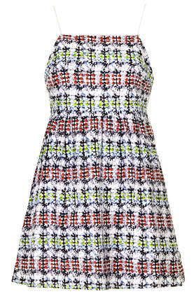 Petite Ikat Broderie Babydoll Dress - length: mini; sleeve style: spaghetti straps; fit: empire; style: sundress; back detail: back revealing; predominant colour: true red; secondary colour: lime; occasions: casual, holiday; fibres: cotton - 100%; hip detail: subtle/flattering hip detail; sleeve length: sleeveless; texture group: cotton feel fabrics; neckline: medium square neck; pattern type: fabric; pattern size: big & busy; pattern: patterned/print; season: s/s 2014