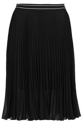 Sport Waistband Pleat Midi Skirt - fit: loose/voluminous; style: pleated; waist detail: elasticated waist; waist: high rise; secondary colour: white; predominant colour: black; occasions: casual, evening, creative work; length: on the knee; fibres: polyester/polyamide - 100%; hip detail: structured pleats at hip; texture group: sheer fabrics/chiffon/organza etc.; pattern type: fabric; trends: powerful pleats, monochrome; season: s/s 2014; pattern size: light/subtle (bottom); pattern: horizontal stripes (bottom)