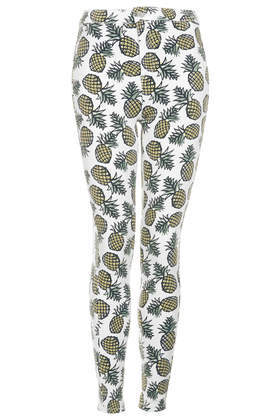 Petite Moto Pineapple Print Skinny Jeans - style: skinny leg; waist: mid/regular rise; predominant colour: primrose yellow; secondary colour: pistachio; occasions: casual; length: ankle length; fibres: cotton - stretch; texture group: denim; pattern type: fabric; pattern: patterned/print; season: s/s 2014; pattern size: big & busy (bottom)