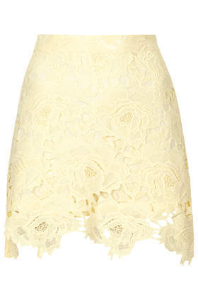 Cut Out Rose Lace Skirt - length: mini; fit: tailored/fitted; waist: high rise; predominant colour: primrose yellow; occasions: evening, creative work; style: mini skirt; fibres: cotton - 100%; texture group: lace; pattern type: fabric; pattern: patterned/print; trends: sorbet shades, lace; season: s/s 2014