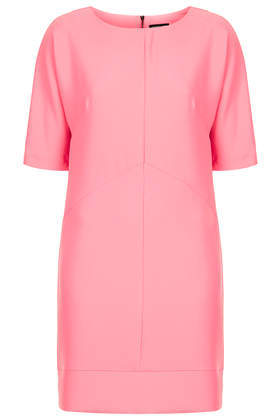 Seamed Textured Tunic Dress - style: tunic; length: mid thigh; pattern: plain; predominant colour: pink; occasions: casual, evening, creative work; fit: straight cut; fibres: polyester/polyamide - 100%; neckline: crew; sleeve length: half sleeve; sleeve style: standard; texture group: crepes; pattern type: fabric; trends: sorbet shades; season: s/s 2014