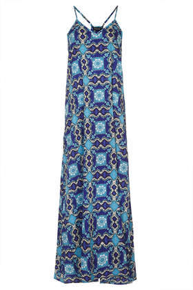 Tile Print Maxi Dress - neckline: v-neck; sleeve style: spaghetti straps; fit: loose; style: maxi dress; back detail: racer back/sports back; secondary colour: royal blue; predominant colour: diva blue; occasions: casual, holiday; length: floor length; fibres: polyester/polyamide - 100%; sleeve length: sleeveless; pattern type: fabric; pattern size: big & busy; pattern: patterned/print; texture group: jersey - stretchy/drapey; trends: world traveller; season: s/s 2014