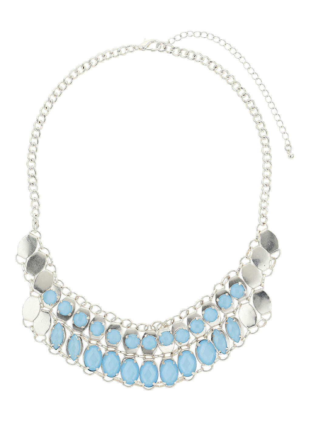 Pastel Blue Stone Collar Necklace - secondary colour: pale blue; predominant colour: silver; occasions: evening, work, occasion, holiday, creative work; length: mid; size: large/oversized; material: chain/metal; finish: plain; embellishment: jewels/stone; style: bib/statement; season: s/s 2014