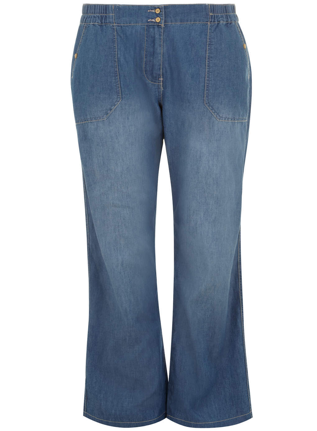 Blue Lightweight Slouch Jeans - style: bootcut; length: standard; pattern: plain; pocket detail: traditional 5 pocket; waist: mid/regular rise; predominant colour: denim; occasions: casual, creative work; fibres: cotton - mix; jeans detail: shading down centre of thigh, washed/faded; texture group: denim; pattern type: fabric; season: s/s 2014