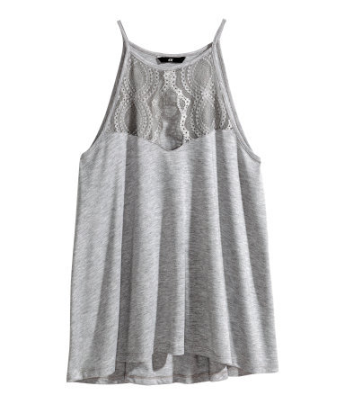 Jersey Top - pattern: plain; sleeve style: sleeveless; style: vest top; predominant colour: light grey; occasions: casual; length: standard; fibres: polyester/polyamide - mix; fit: loose; neckline: crew; sleeve length: sleeveless; pattern type: fabric; texture group: jersey - stretchy/drapey; embellishment: lace; trends: lace; season: s/s 2014