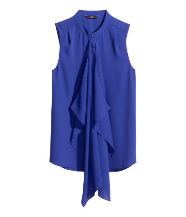 Draped Blouse - pattern: plain; sleeve style: sleeveless; length: below the bottom; style: blouse; predominant colour: royal blue; occasions: casual, creative work; neckline: collarstand; fibres: polyester/polyamide - 100%; fit: straight cut; sleeve length: sleeveless; texture group: crepes; pattern type: fabric; trends: hot brights; season: s/s 2014