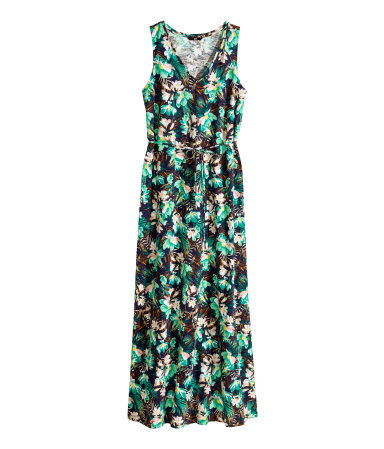Patterned Maxi Dress - neckline: low v-neck; sleeve style: sleeveless; style: maxi dress; waist detail: belted waist/tie at waist/drawstring; length: floor length; fit: body skimming; fibres: cotton - 100%; occasions: occasion, holiday; predominant colour: multicoloured; sleeve length: sleeveless; pattern type: fabric; pattern size: standard; pattern: florals; texture group: jersey - stretchy/drapey; season: s/s 2014; multicoloured: multicoloured