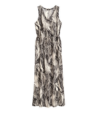 Patterned Maxi Dress - neckline: v-neck; fit: loose; sleeve style: sleeveless; style: maxi dress; waist detail: belted waist/tie at waist/drawstring; predominant colour: mid grey; occasions: casual; length: floor length; fibres: cotton - 100%; sleeve length: sleeveless; pattern type: fabric; pattern size: standard; pattern: patterned/print; texture group: jersey - stretchy/drapey; season: s/s 2014; trends: monochrome