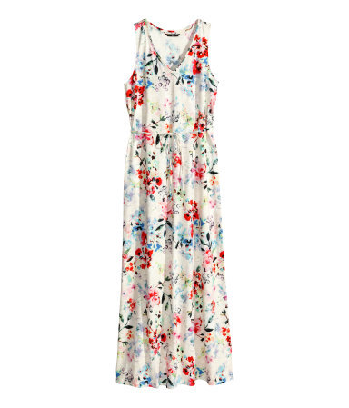 Patterned Maxi Dress - neckline: v-neck; fit: loose; sleeve style: sleeveless; style: maxi dress; length: ankle length; waist detail: belted waist/tie at waist/drawstring; secondary colour: ivory/cream; occasions: casual; fibres: cotton - 100%; predominant colour: multicoloured; sleeve length: sleeveless; texture group: cotton feel fabrics; pattern type: fabric; pattern size: big & busy; pattern: florals; trends: furious florals; season: s/s 2014; multicoloured: multicoloured