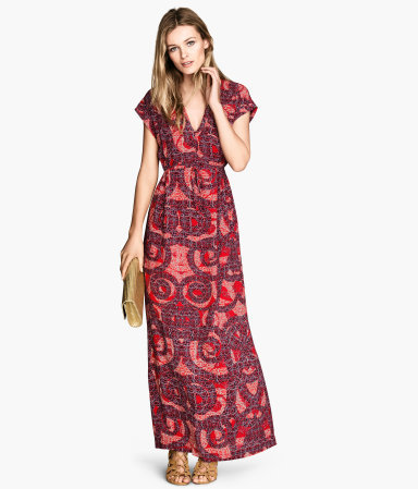 Patterned Maxi Dress - neckline: low v-neck; sleeve style: capped; fit: fitted at waist; style: maxi dress; occasions: casual, occasion; length: floor length; fibres: viscose/rayon - 100%; predominant colour: multicoloured; sleeve length: short sleeve; texture group: cotton feel fabrics; pattern type: fabric; pattern: patterned/print; season: s/s 2014; multicoloured: multicoloured