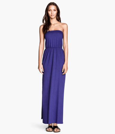 Maxi Dress - neckline: strapless (straight/sweetheart); fit: fitted at waist; pattern: plain; style: maxi dress; sleeve style: strapless; length: ankle length; waist detail: elasticated waist; predominant colour: royal blue; occasions: casual; fibres: cotton - mix; sleeve length: sleeveless; pattern type: fabric; texture group: jersey - stretchy/drapey; season: s/s 2014