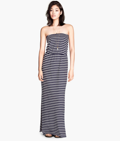Maxi Dress - neckline: strapless (straight/sweetheart); fit: fitted at waist; pattern: horizontal stripes; style: maxi dress; sleeve style: strapless; waist detail: elasticated waist; secondary colour: white; predominant colour: black; occasions: casual; length: floor length; fibres: cotton - mix; sleeve length: sleeveless; pattern type: fabric; pattern size: standard; texture group: jersey - stretchy/drapey; season: s/s 2014; trends: monochrome