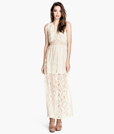 Lace Maxi Dress - neckline: round neck; sleeve style: sleeveless; style: maxi dress; length: ankle length; bust detail: sheer at bust; predominant colour: ivory/cream; occasions: casual, evening, occasion; fit: fitted at waist & bust; fibres: polyester/polyamide - mix; waist detail: cut out detail; sleeve length: sleeveless; texture group: lace; pattern type: fabric; pattern size: light/subtle; pattern: patterned/print; embellishment: lace; season: s/s 2014; wardrobe: highlight; embellishment location: pattern