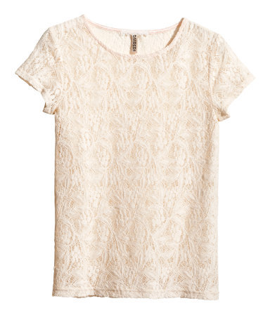 Lace Top - neckline: round neck; predominant colour: champagne; occasions: casual, evening, holiday, creative work; length: standard; style: top; fibres: cotton - mix; fit: body skimming; sleeve length: short sleeve; sleeve style: standard; texture group: lace; pattern type: fabric; pattern: patterned/print; embellishment: lace; trends: sorbet shades, lace; season: s/s 2014