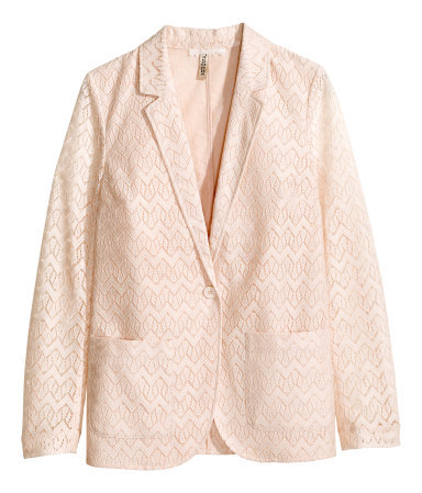 Lace Jacket - style: single breasted blazer; length: below the bottom; collar: standard lapel/rever collar; predominant colour: nude; occasions: casual, creative work; fit: tailored/fitted; fibres: polyester/polyamide - 100%; sleeve length: long sleeve; sleeve style: standard; texture group: lace; collar break: low/open; pattern type: fabric; pattern: patterned/print; trends: sorbet shades, lace; season: s/s 2014