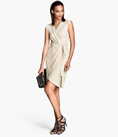 Wraparound Dress - style: faux wrap/wrap; neckline: v-neck; sleeve style: capped; pattern: plain; waist detail: belted waist/tie at waist/drawstring; predominant colour: ivory/cream; occasions: evening, occasion, holiday, creative work; length: just above the knee; fit: body skimming; fibres: polyester/polyamide - stretch; sleeve length: sleeveless; pattern type: fabric; texture group: jersey - stretchy/drapey; trends: sorbet shades; season: s/s 2014
