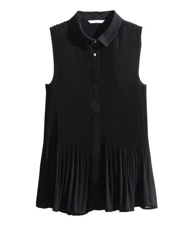 Pleated Blouse - neckline: shirt collar/peter pan/zip with opening; pattern: plain; sleeve style: sleeveless; style: shirt; predominant colour: black; occasions: evening, creative work; length: standard; fibres: polyester/polyamide - 100%; fit: body skimming; sleeve length: sleeveless; texture group: silky - light; pattern type: fabric; season: s/s 2014