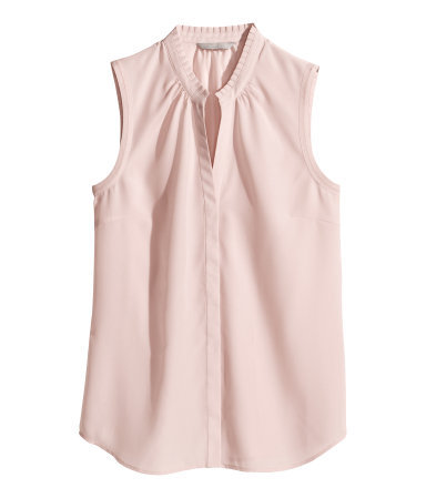 Sleeveless Blouse - pattern: plain; sleeve style: sleeveless; style: blouse; predominant colour: blush; occasions: casual, creative work; length: standard; neckline: collarstand & mandarin with v-neck; fibres: polyester/polyamide - 100%; fit: body skimming; sleeve length: sleeveless; texture group: crepes; pattern type: fabric; trends: sorbet shades; season: s/s 2014