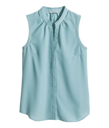Sleeveless Blouse - pattern: plain; sleeve style: sleeveless; style: blouse; predominant colour: pale blue; occasions: casual, creative work; length: standard; neckline: collarstand & mandarin with v-neck; fibres: polyester/polyamide - 100%; fit: body skimming; sleeve length: sleeveless; texture group: crepes; pattern type: fabric; trends: sorbet shades; season: s/s 2014
