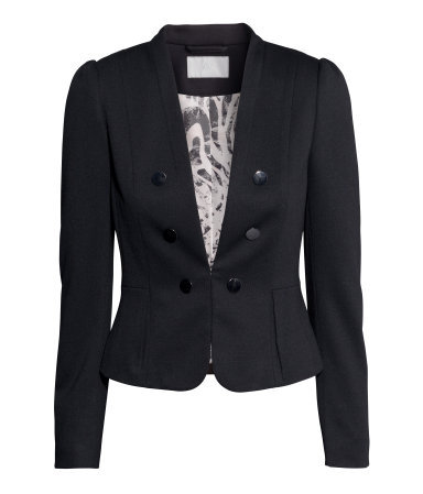 Jersey Jacket - pattern: plain; style: double breasted blazer; collar: round collar/collarless; predominant colour: black; occasions: evening, work, occasion, creative work; length: standard; fit: tailored/fitted; fibres: polyester/polyamide - mix; sleeve length: long sleeve; sleeve style: standard; collar break: medium; pattern type: fabric; texture group: jersey - stretchy/drapey; season: s/s 2014