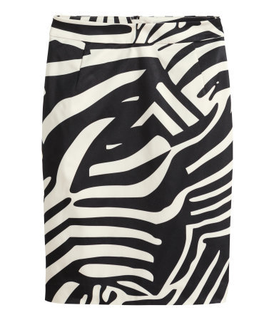 Pencil Skirt - length: mid thigh; style: pencil; fit: tailored/fitted; waist: high rise; secondary colour: white; predominant colour: black; occasions: evening, creative work; fibres: polyester/polyamide - 100%; pattern type: fabric; pattern: animal print; texture group: woven light midweight; season: s/s 2014; trends: monochrome; pattern size: big & busy (bottom)
